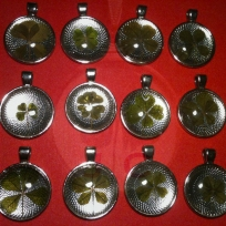 4-Leafed Clover Pendants, $15/pendant, 5-Leafer Pendants are $17/per pendant.