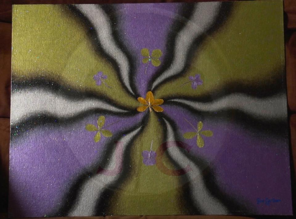 Purple and Peridot (metallic)_16X20 or 19X23 w:frame_$500
